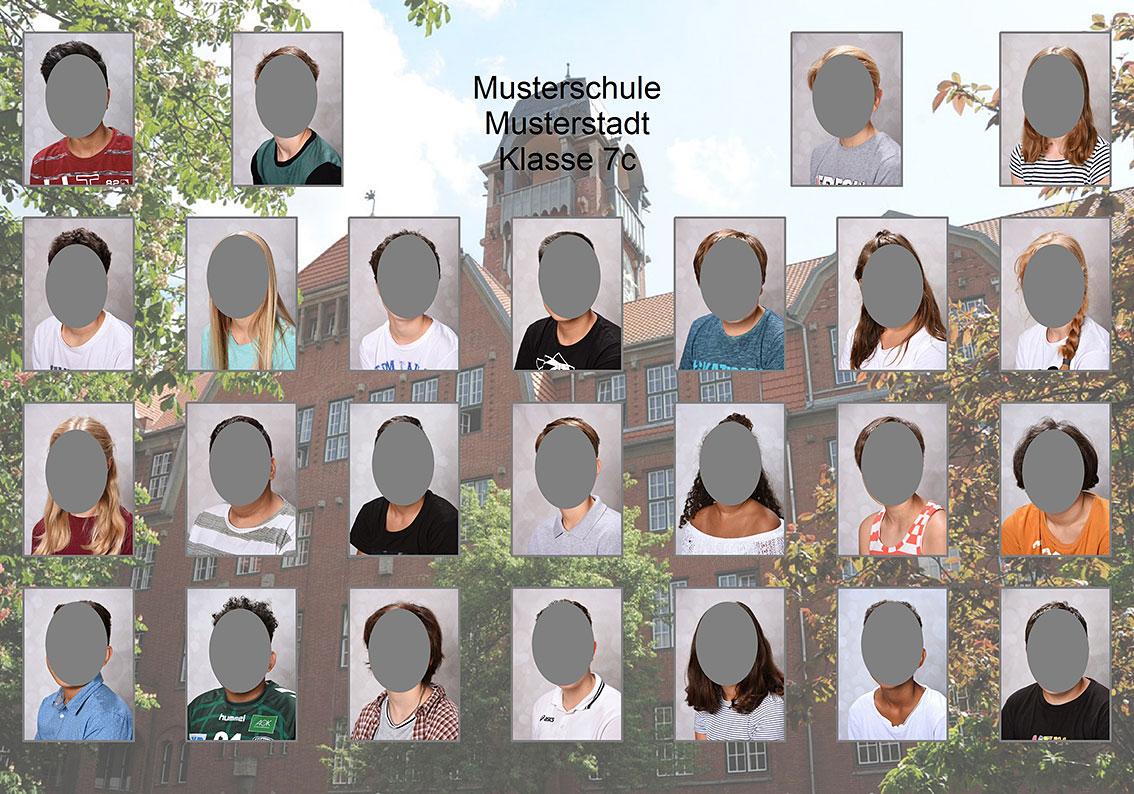 Einzelne Kinder-Porträtbilder als Klassenfoto zusammengefasst